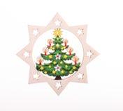 Decorazione di legno di Natale Sul fondo di scintillio Fotografia Stock