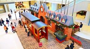 Decorazione di Natale agli elementi centro commerciale, Hong Kong Fotografie Stock