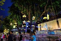 Decorazione di natale alla strada del frutteto di Singapore Fotografie Stock Libere da Diritti