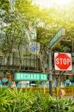 Decorazione di natale alla strada del frutteto di Singapore Fotografia Stock