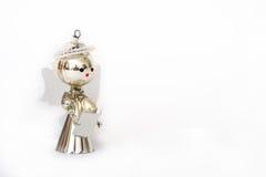 Decorazione di natale, angelo d'argento su priorità bassa bianca Fotografie Stock Libere da Diritti