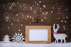 Decorazione di natale bianco su neve, spazio della copia, stelle scintillanti Fotografia Stock