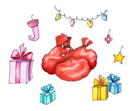 Decorazione di natale Borse con i regali, contenitori di regalo, luci di Natale Illustrazione dell'acquerello Fotografia Stock