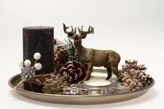 Decorazione di natale Candela con una corda e un cervo Immagini Stock Libere da Diritti