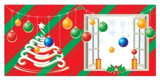 Decorazione di Natale con e fondo Immagini Stock Libere da Diritti