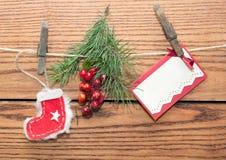 Decorazione di Natale con fondo di legno Fotografia Stock Libera da Diritti