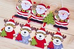 Decorazione di Natale con i cervi ed il fondo di Santa Claus Immagini Stock Libere da Diritti