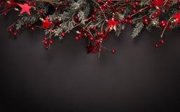 Decorazione di Natale con i rami dell'abete Fotografia Stock