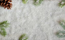 Decorazione di Natale con il pino e la neve fotografia stock