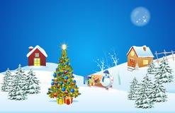 Decorazione di natale con l'albero di Natale illustrazione di stock