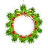 Decorazione di Natale con l'insegna del cerchio Immagini Stock
