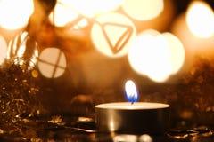Decorazione di Natale con la candela Fotografia Stock