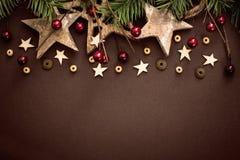 Decorazione di Natale con le stelle di legno Fotografia Stock