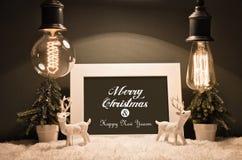 Decorazione di Natale con le vecchie lampade Fotografia Stock Libera da Diritti