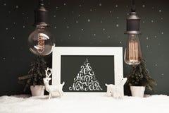 Decorazione di Natale con le vecchie lampade Fotografia Stock