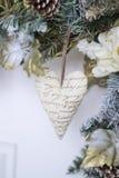 Decorazione di Natale: cuore del tessuto Fotografia Stock Libera da Diritti
