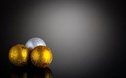 Decorazione di Natale dell'argento e dell'oro fotografia stock