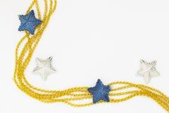 Decorazione di natale della stella bianca e blu Fotografie Stock