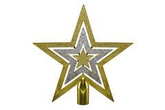 Decorazione di natale della stella dell'oro sull'isolato su Immagine Stock