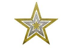 Decorazione di natale della stella dell'oro sull'isolato su Fotografia Stock Libera da Diritti