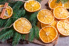 Decorazione di Natale, fetta arancio, cannella fotografia stock