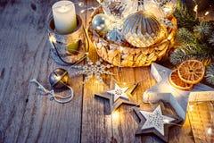 Decorazione di Natale per il saluto del nuovo anno dell'albero Fotografia Stock