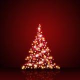 Decorazione di Natale in rosso e stelle d'oro Fotografie Stock Libere da Diritti