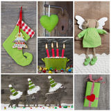 Decorazione di Natale in rosso ed in verde su fondo di legno Fotografia Stock
