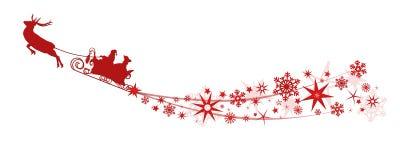Decorazione di Natale - Santa Claus con le slitte della renna, stelle, fiocchi di neve Fotografia Stock Libera da Diritti