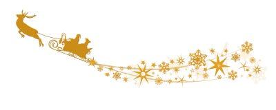 Decorazione di Natale - Santa Claus con le slitte della renna, stelle, fiocchi di neve Fotografie Stock
