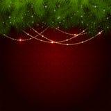 Decorazione di Natale sulla carta da parati rossa Fotografia Stock
