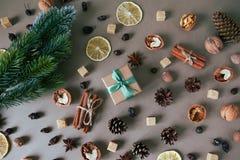 Decorazione di Natale sulla vista del piano d'appoggio Fotografie Stock