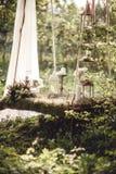 Decorazione di nozze con i fiori e le candele nella foresta Immagine Stock