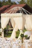 Decorazione di nozze nel colore bianco Fotografia Stock