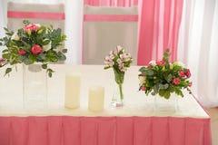 Decorazione di nozze nel colore rosa Fotografie Stock Libere da Diritti