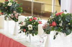 Decorazione di nozze nel colore rosa Fotografia Stock