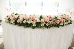 Decorazione di nozze nel ristorante Fotografia Stock