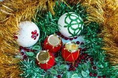 Decorazione di ornamenal del nuovo anno e di Natale Fotografia Stock Libera da Diritti