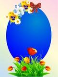 Decorazione di Pasqua con l'uovo di Pasqua, fiore Fotografie Stock