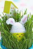 Decorazione di Pasqua con l'uovo sveglio in cappello del coniglietto Fotografia Stock