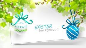 Decorazione di Pasqua con le foglie Immagine Stock