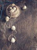 Decorazione di Pasqua con le uova ed i rami di quaglia sul bordo di legno Immagine Stock