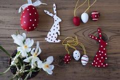 Decorazione di Pasqua, croco, Bunny And Eggs Immagine Stock