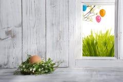 Decorazione di Pasqua, nido di Pasqua con l'uovo marrone Immagine Stock Libera da Diritti