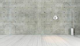 Decorazione di stile del sottotetto del muro di cemento con la luce del pavimento, fondo, tem Fotografie Stock Libere da Diritti