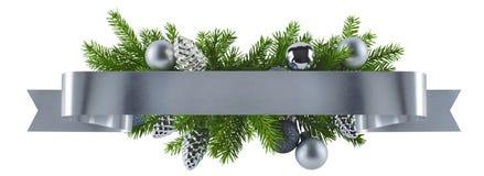 Decorazione diritta festiva dell'argento del nastro per il Natale Fotografie Stock Libere da Diritti