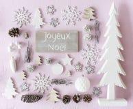 Decorazione, disposizione piana, Joyeux Noel Means Merry Christmas fotografia stock libera da diritti