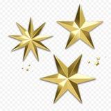 Decorazione dorata della stella di Natale o ornamento brillante dell'oro del fiocco di neve per la cartolina d'auguri di vacanza  illustrazione di stock