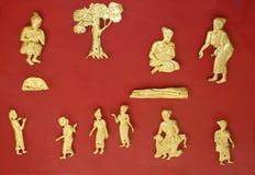 Decorazione dorata in museo nazionale in Luang Prabang Immagini Stock Libere da Diritti