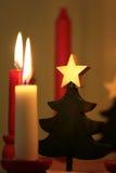 Decorazione e candele di natale Fotografie Stock Libere da Diritti